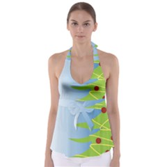 Christmas Tree Christmas Babydoll Tankini Top