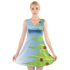 Christmas Tree Christmas V Neck Sleeveless Skater Dress