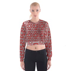 Christmas Wrap Pattern Women s Cropped Sweatshirt
