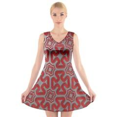 Christmas Wrap Pattern V Neck Sleeveless Skater Dress