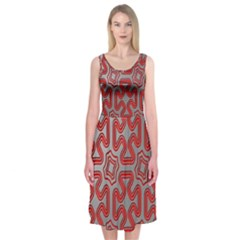 Christmas Wrap Pattern Midi Sleeveless Dress