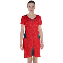 Christmas Time Fir Trees Short Sleeve Nightdress