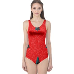 Christmas Time Fir Trees One Piece Swimsuit