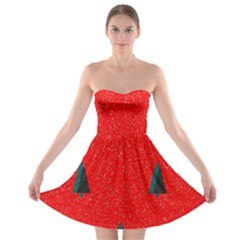 Christmas Time Fir Trees Strapless Bra Top Dress