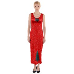Christmas Time Fir Trees Fitted Maxi Dress