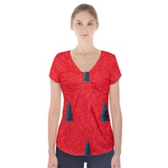 Christmas Time Fir Trees Short Sleeve Front Detail Top
