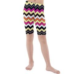 Colorful Chevron Pattern Stripes Kids  Mid Length Swim Shorts