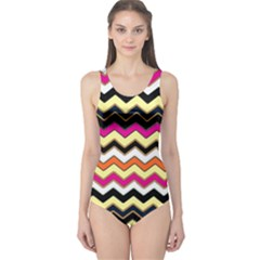 Colorful Chevron Pattern Stripes One Piece Swimsuit
