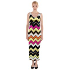 Colorful Chevron Pattern Stripes Fitted Maxi Dress