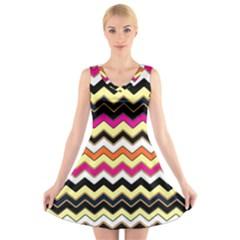 Colorful Chevron Pattern Stripes V Neck Sleeveless Skater Dress