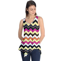 Colorful Chevron Pattern Stripes Sleeveless Tunic