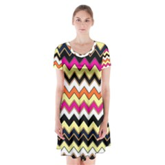 Colorful Chevron Pattern Stripes Short Sleeve V-neck Flare Dress