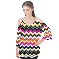 Colorful Chevron Pattern Stripes Flutter Tees