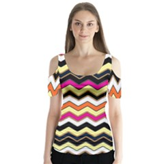 Colorful Chevron Pattern Stripes Butterfly Sleeve Cutout Tee