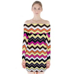 Colorful Chevron Pattern Stripes Long Sleeve Off Shoulder Dress