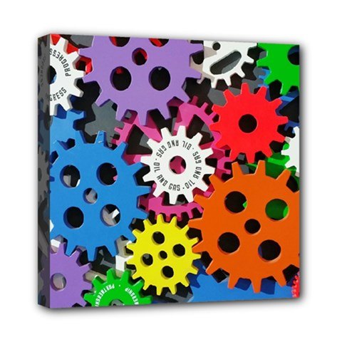 Colorful Toothed Wheels Mini Canvas 8  x 8