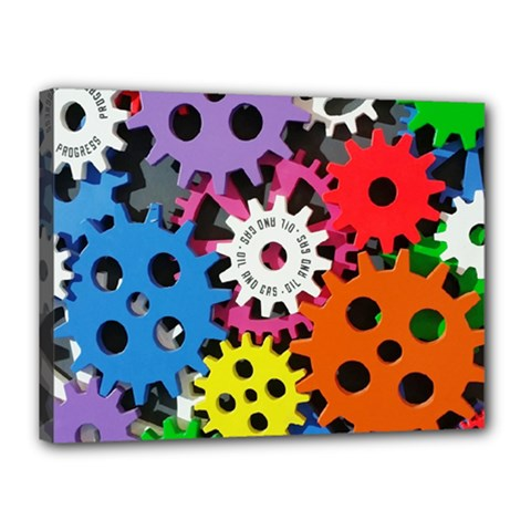 Colorful Toothed Wheels Canvas 16  X 12