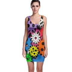 Colorful Toothed Wheels Sleeveless Bodycon Dress