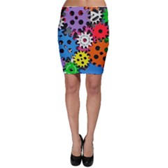 Colorful Toothed Wheels Bodycon Skirt