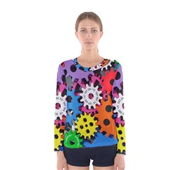 Colorful Toothed Wheels Women s Long Sleeve Tee