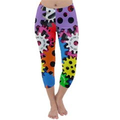 Colorful Toothed Wheels Capri Winter Leggings