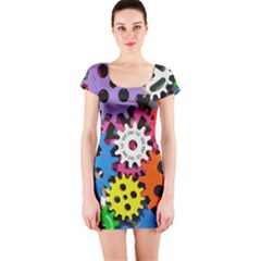 Colorful Toothed Wheels Short Sleeve Bodycon Dress