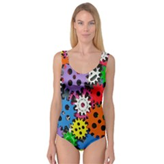 Colorful Toothed Wheels Princess Tank Leotard