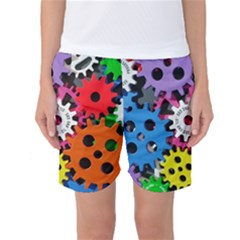 Colorful Toothed Wheels Women s Basketball Shorts