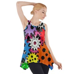 Colorful Toothed Wheels Side Drop Tank Tunic