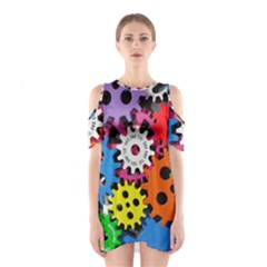 Colorful Toothed Wheels Shoulder Cutout One Piece