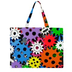 Colorful Toothed Wheels Large Tote Bag