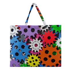 Colorful Toothed Wheels Zipper Large Tote Bag