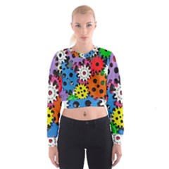 Colorful Toothed Wheels Women s Cropped Sweatshirt
