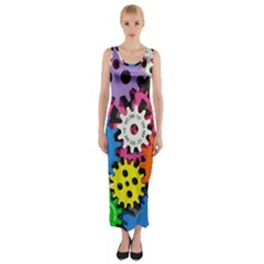 Colorful Toothed Wheels Fitted Maxi Dress