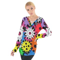 Colorful Toothed Wheels Women s Tie Up Tee