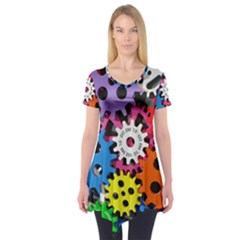 Colorful Toothed Wheels Short Sleeve Tunic