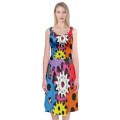 Colorful Toothed Wheels Midi Sleeveless Dress