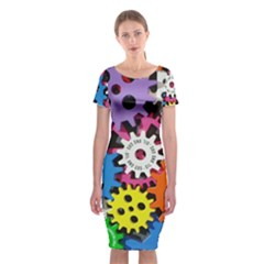 Colorful Toothed Wheels Classic Short Sleeve Midi Dress
