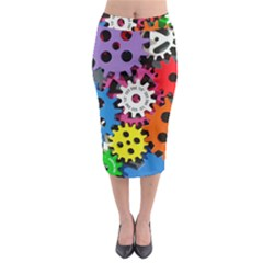 Colorful Toothed Wheels Midi Pencil Skirt