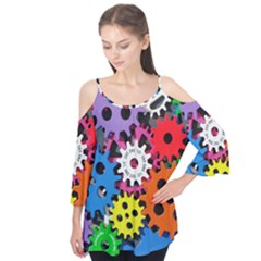 Colorful Toothed Wheels Flutter Tees