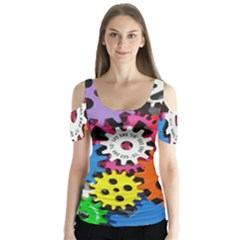 Colorful Toothed Wheels Butterfly Sleeve Cutout Tee