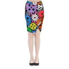 Colorful Toothed Wheels Midi Wrap Pencil Skirt
