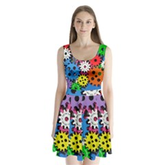 Colorful Toothed Wheels Split Back Mini Dress