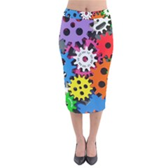 Colorful Toothed Wheels Velvet Midi Pencil Skirt