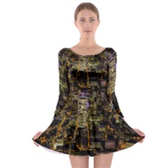 City Glass Architecture Windows Long Sleeve Skater Dress