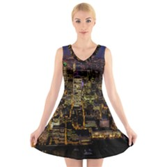 City Glass Architecture Windows V Neck Sleeveless Skater Dress