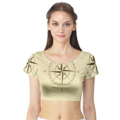 Compass Vintage South West East Short Sleeve Crop Top (Tight Fit)