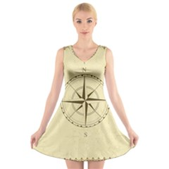 Compass Vintage South West East V Neck Sleeveless Skater Dress