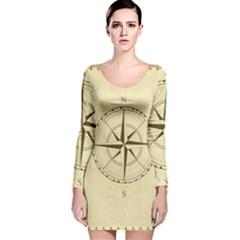 Compass Vintage South West East Long Sleeve Velvet Bodycon Dress