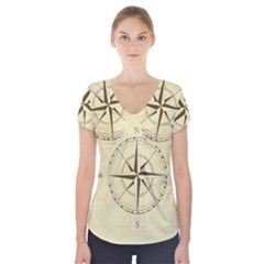 Compass Vintage South West East Short Sleeve Front Detail Top